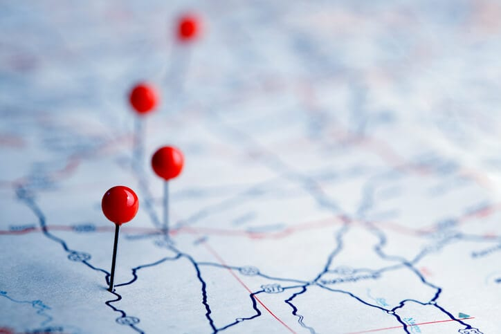 roadmap with pins for sales planning