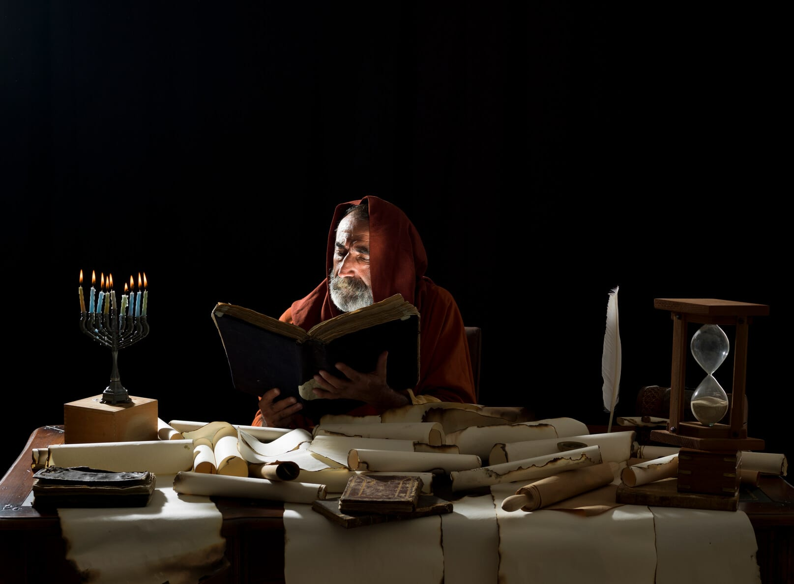 Medieval philosopher reading the 5 commandments of launching a knowledge management system