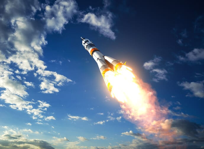 rocket launch demonstrating power of effective sales enablement platform