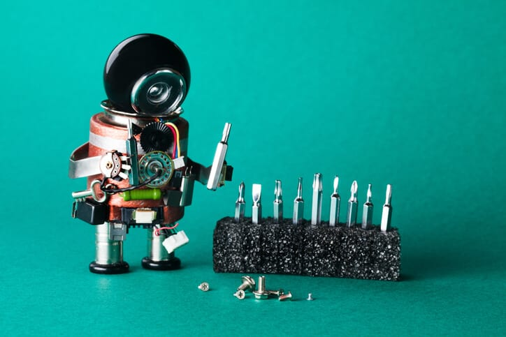 robot handyman with screws thinking about digital transformation solutions