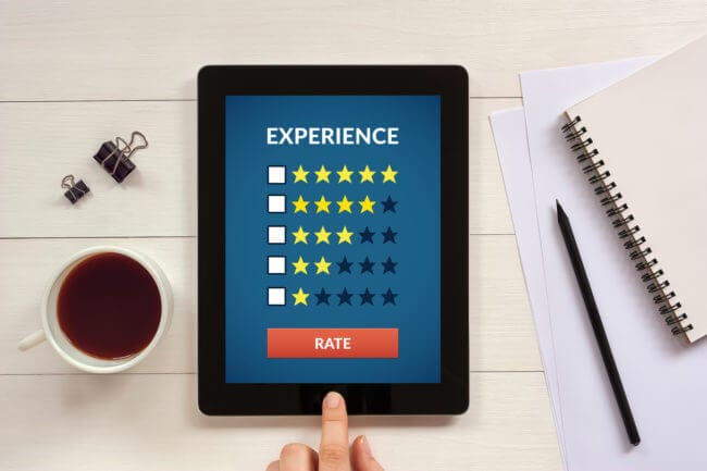 rating app on tablet as part of customer experience tech stack