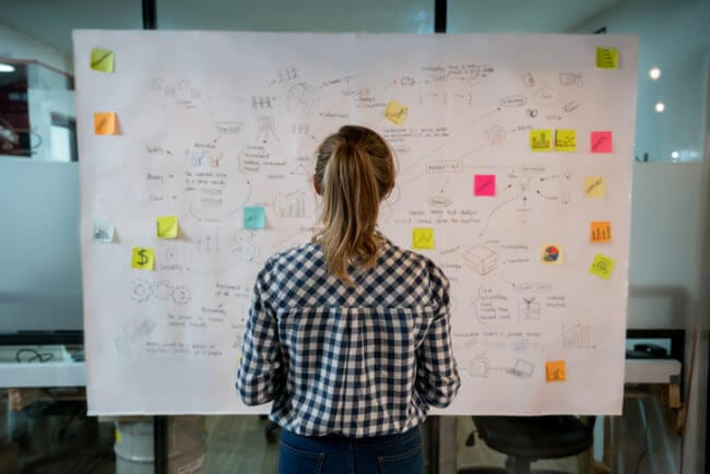 woman looking at sketch of knowledge management technology goals and objectives on posterboard