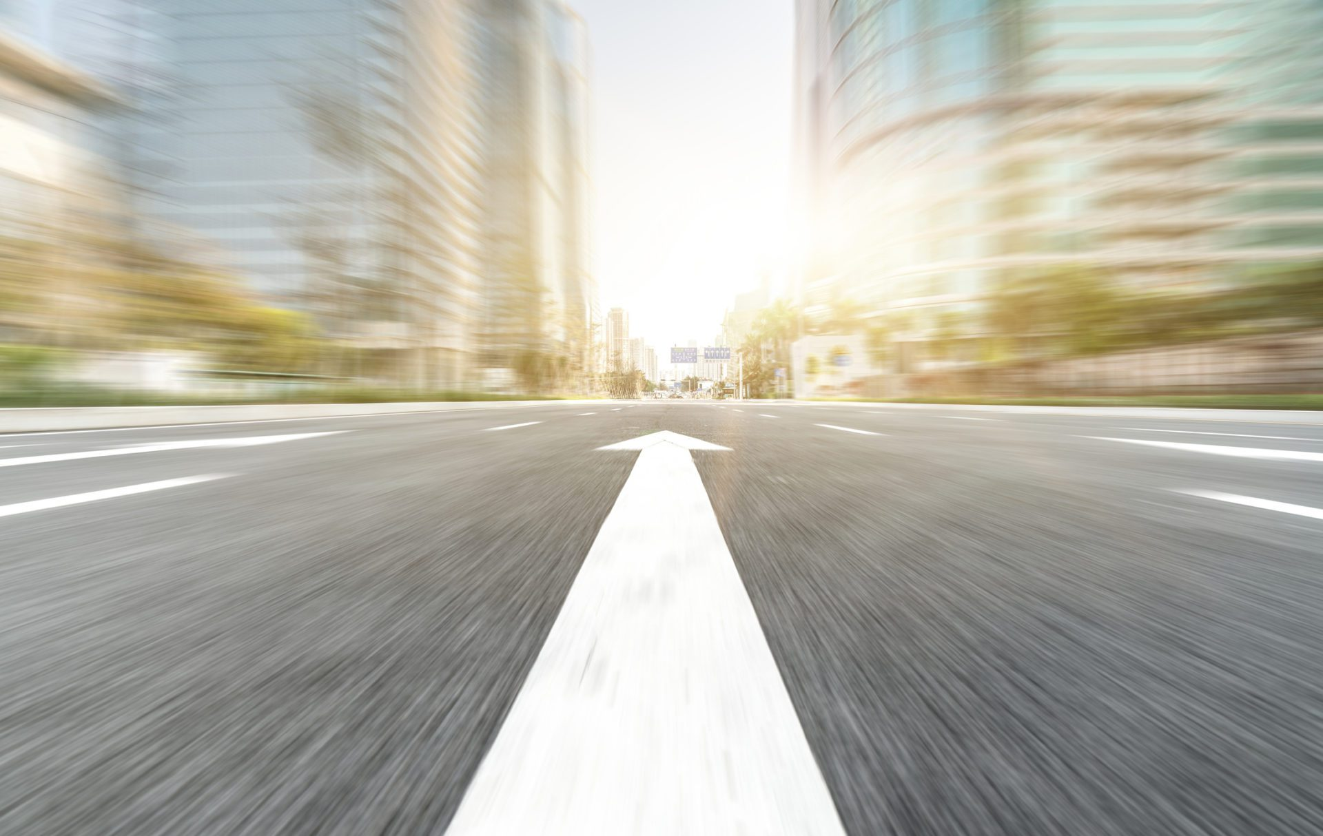blurred highway as metaphor for delivering insights at speed of business decisions