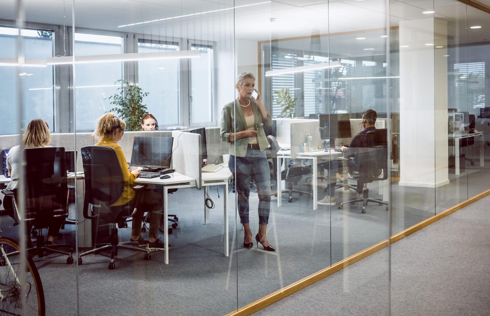customer service team in office adopt digital transformation approach